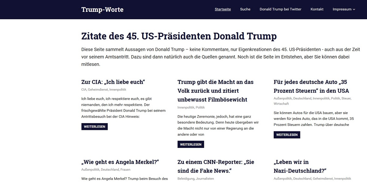 Internetangebot Trump-Worte.de