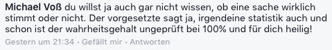 Kommentar bei Facebook (Screenshot)