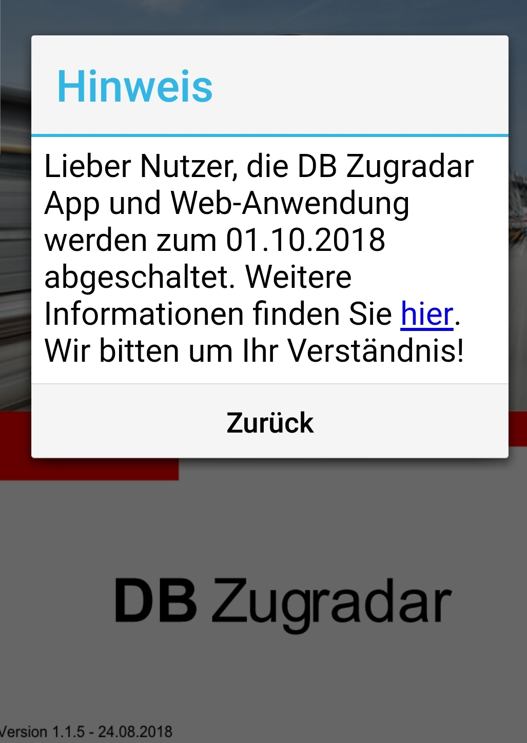 Screenshot vom Zugradar