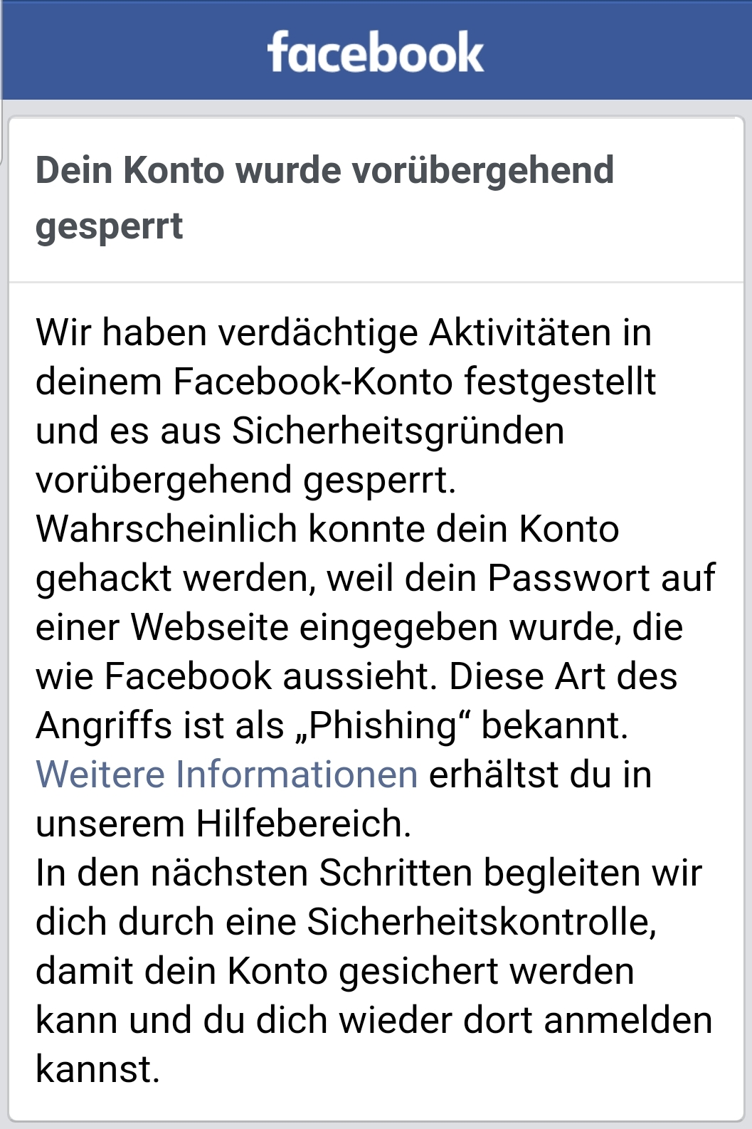 Screenshot der Facebook-App
