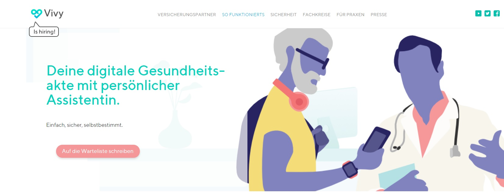 Screenshot der Vivy-Internetseite